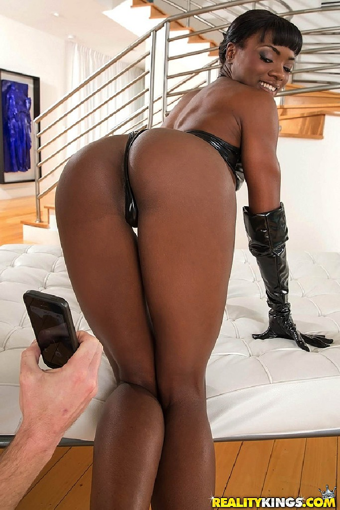 Oiled up ebony loves to fuck